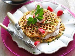Potato Waffles with Radish Cream recipe