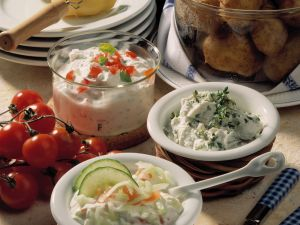 Potatoes with Assorted Dips recipe