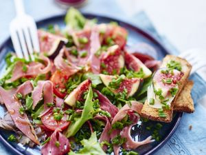 Prosciutto with Fruit and Toasts recipe