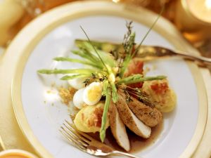 Rabbit with Stuffed Potatoes and Asparagus recipe