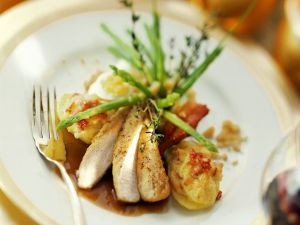 Rabbit with Stuffed Sweet Potatoes and Vegetables recipe