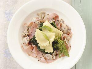 Ravioli with Ham and Spinach recipe
