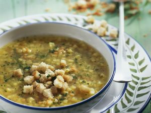 Red Lentil Soup with Parsnips and Croutons recipe