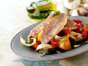 Red Mullet with Artichokes and Bell Peppers recipe