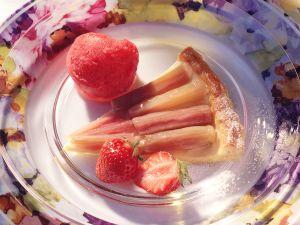 Rhubarb Tart with Strawberry Sorbet recipe