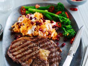Rib Eye Steaks with Mashed Sweet Potatoes and Broccoli recipe