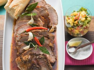Roast Pork with Spicy Mango Salad recipe