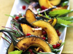 Roast Squash Slices with Greens and Pomegranate recipe