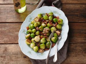 Roasted Brussels Sprouts with Bacon and Walnuts recipe