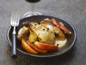 Roasted Chicken with Apples and Calvados Sauce recipe