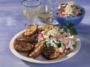 Roasted Potatoes with Cucumber-Radish Cream recipe