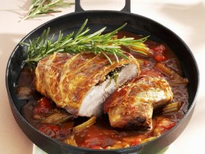Roasted Veal with Bacon and Vegetable Sauce recipe