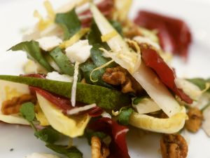 Salad with Radicchio, Pears, Pecorino and Walnuts recipe