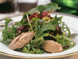 Salad with Seasoned Lentils and Foie Gras recipe