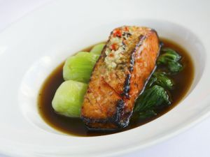 Salmon Fillet with Bok Choy and Spicy Sauce recipe