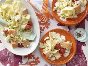 Salmon Tagliatelle with Creamed Vegetables recipe