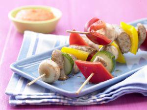 Sausage Skewers with Vegetables recipe