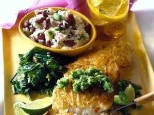 Sea Bass with Potato Crust, Bean Rice and Salsa recipe