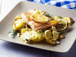 Seared Salmon with Roasted Lemon and Feta Potatoes recipe