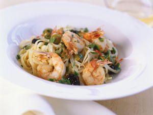 Shrimp and Olive Pasta Bowl recipe