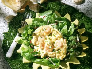 Shrimp and Scrambled Eggs over Herb Salad recipe