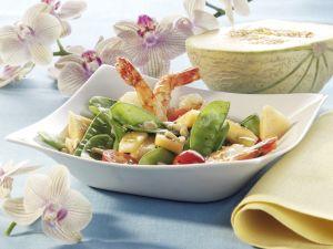 Shrimp Salad with Snow Peas and Melon recipe