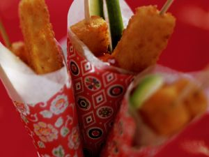 Skewered Fish Sticks with Spicy Tomato Sauce recipe