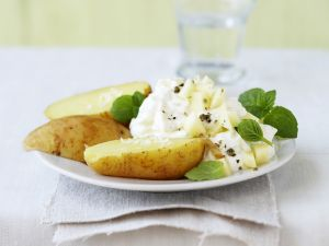 Soft Cheese with Potato Halves recipe