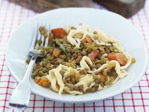 Spätzle with Lentils and Sausage recipe