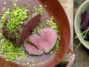 Spice-Crusted Beef with Chives recipe