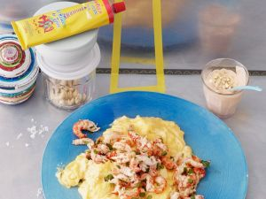 Spicy Breakfast Eggs with Seafood recipe