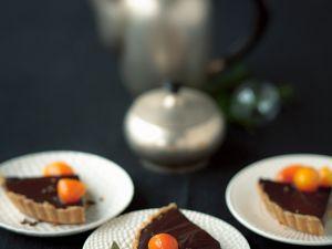 Spicy Dark Chocolate Tart with Candied Kumquats recipe