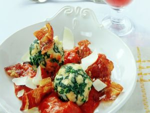 Spinach Dumplings with Tomato Sauce and Bacon recipe