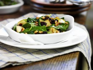 Spinach Salad with Fried Apples and Pine Nuts recipe