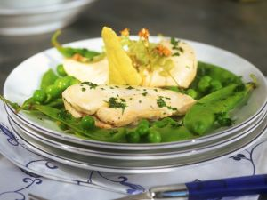 Steamed Chicken Breasts with Green Peas and Edible Flowers recipe