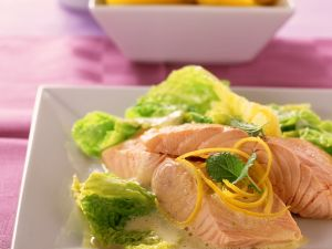 Steamed Salmon with Savoy Cabbage recipe