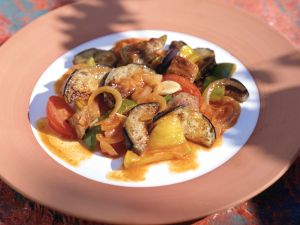 Stewed Eggplant and Bell Peppers recipe