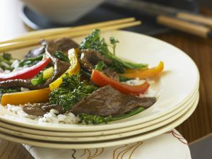 Stir-Fried Beef with Broccoli and Peppers recipe