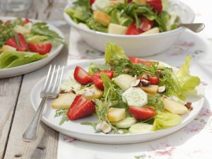 Strawberry Salad with Cucumber, Hazelnuts and Feta recipe