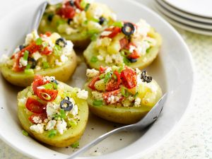 Stuffed Potatoes with Feta Cheese, Tomatoes and Olives recipe
