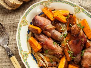 Sweet Potatoes with Bacon-wrapped Sausage recipe
