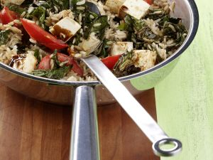 Swiss Chard and Tofu Rice Bowl recipe