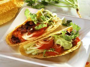 Tacos with Salsa, Beans and Avocado recipe