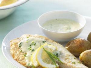Tilapia with Mustard Tarragon Sauce and Potatoes recipe