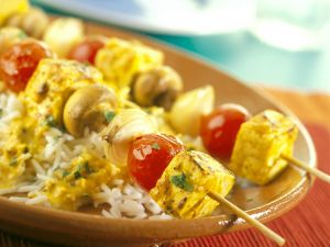 Tofu and Vegetable Skewers with Curry Sauce recipe