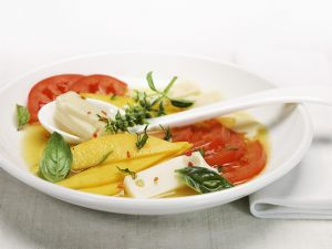 Tomato and Cheese Salad with Mango recipe