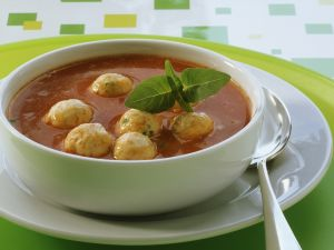 Tomato Bisque with Soft Cheese Balls recipe