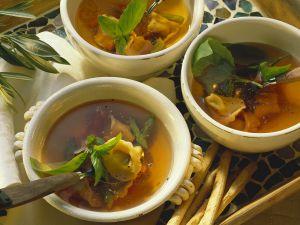 Tomato Broth with Asparagus Tortellini recipe