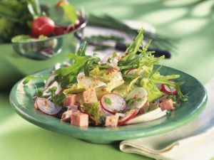 Tossed Green Salad with Bologna and Daikon recipe