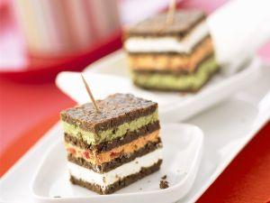 Triple Layer Cream Cheese and Pumpernickel Tea Sandwiches recipe